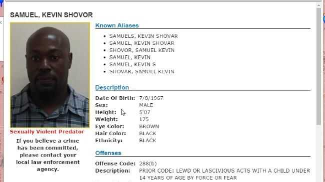 Samuel Kevin Shovor is listed on the US Sex Offender registry as a