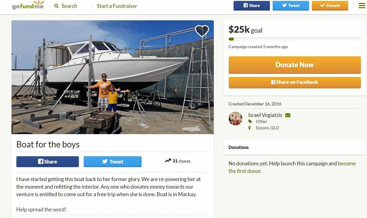 Boat for the boys Go Fund Me page.