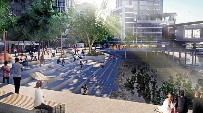 An artist's impression of how a public space could be built while creating a flood levee.