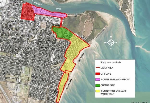 The study area of the priority development area proposed by Mackay Regional Council.