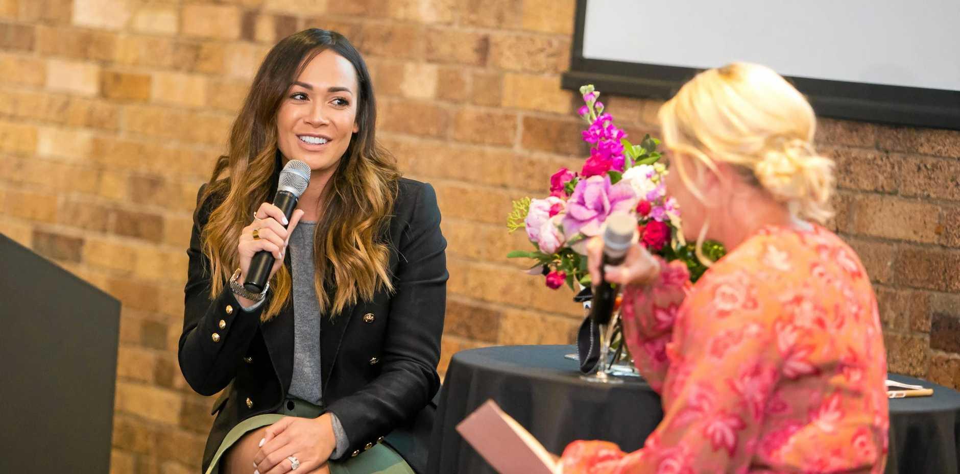 MC Kathryn Doyle (right) interviews Kayla Boyd.