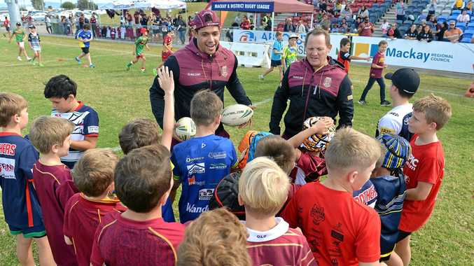Queensland State of Origin player Dane Gagai with coach Kevin Walters at the Maroons Fan Day coaching clinic on Wednesday.
