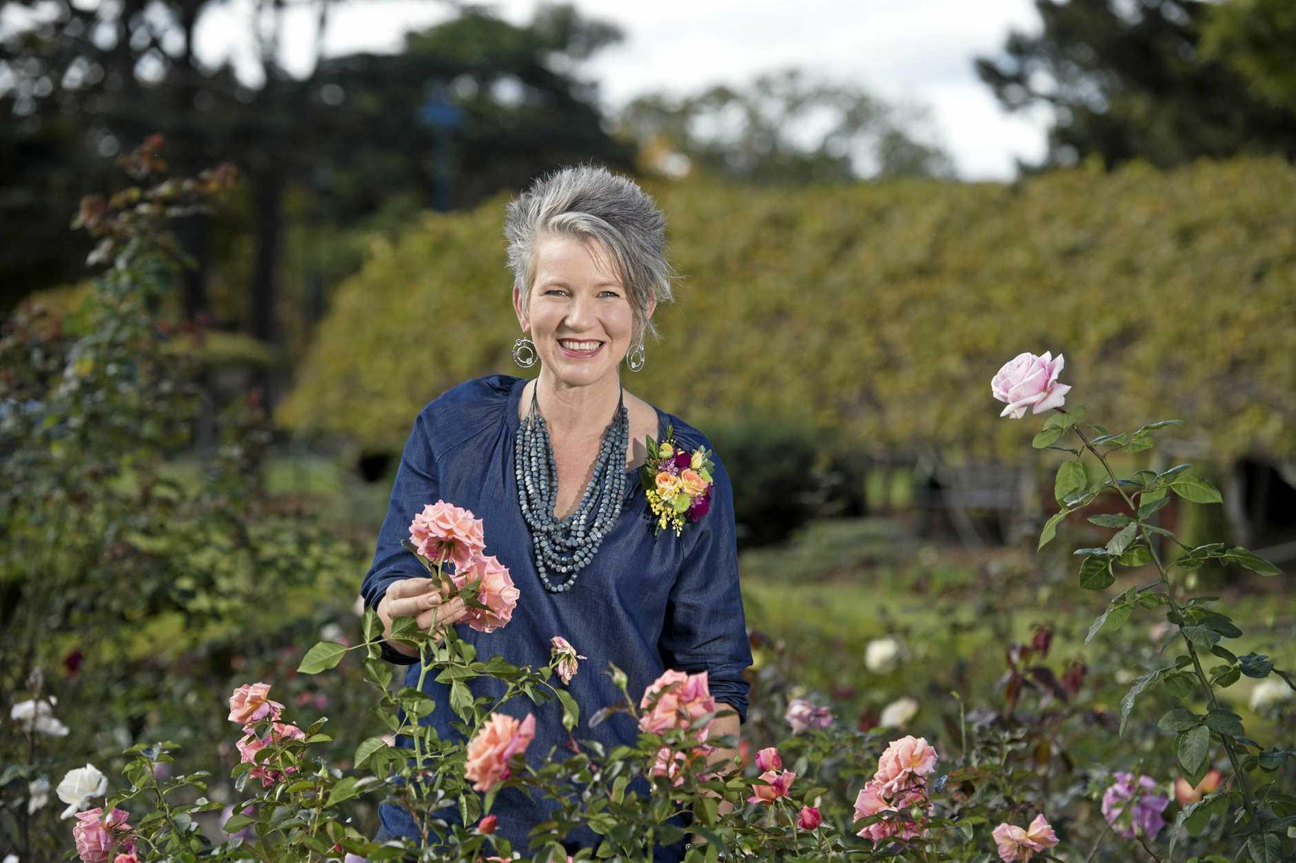 Gardening Australia host Sophie Thomson in Laurel Bank Park to promote the Carnival of Flowers, Wednesday, June 14, 2017.