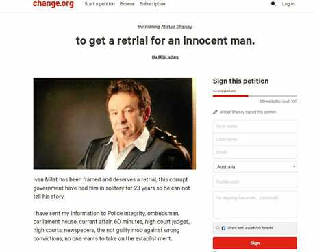 Alistair Shipsey's petition to have his uncle, Ivan Milat, retried.