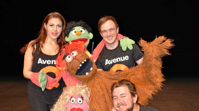 Lorriane Hanson with puppest Nicky, Trekkie Monster and Lucy the Slut and human actors Joshua Bloomfield and Emu Park's Travis Hock who will be featured in the production Avenue Q at the Pilbeam Theatre on June 17 and 18.