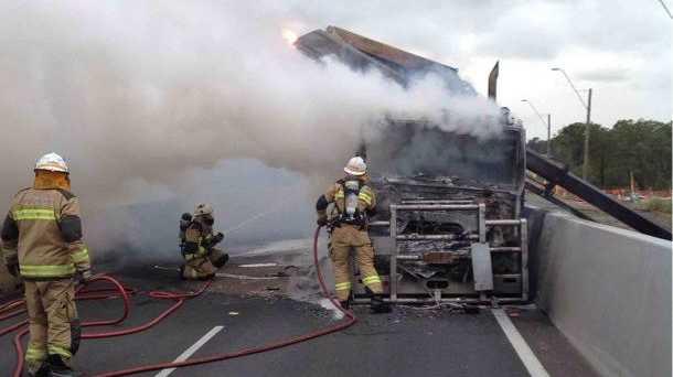 Crews on the scene of the semi-trailer fire.