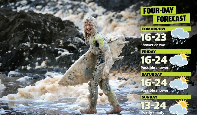 Tane Dobbyn, 13, in the foam at Snapper Rocks on Tuesday. Picture: Nigel Hallett