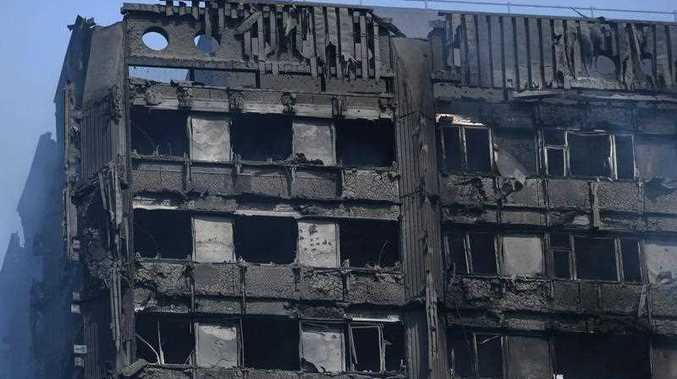 The damaged remains of a fire at Grenfell Tower, a 24-storey apartment block in North Kensington, London, Britain.