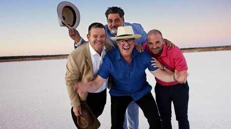 Heston Blumenthal with MasterChef judges Gary Mehigan, Matt Preston and George Calombaris at the Murray salt pans.