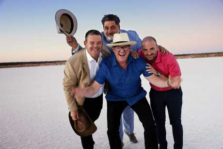 Heston Blumenthal with MasterChef judges Gary Mehigan, Matt Preston and George Calombaris at the Murray salt pans.