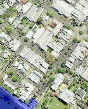 FROM LEFT: Cnr Prince and Victoria Sts. In these modelling examples you can see this area is dry in a 20-year flood, has both dry and flooded land in a 50-year and 100-year floods and is completely underwater in an Extreme flood event, below. Note that an extreme flood is both extreme in flood level and rarity.