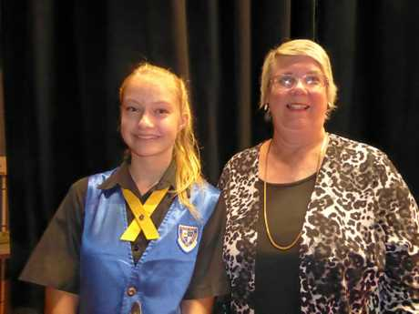 Viktoria Boulton with performing arts head of department Kathy George.