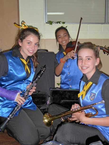 Year 7 musicians Matilda Daniel, Athalia Garcia and Eva-Jane Newsome.