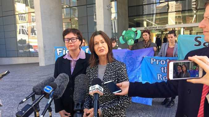 Whitsunday Residents Against Dumping Spokesperson Sandra Williams addresses a press pack outside Brisbane Supreme and District Court after the group's push to halt Adani's coal port expansion was dismissed.