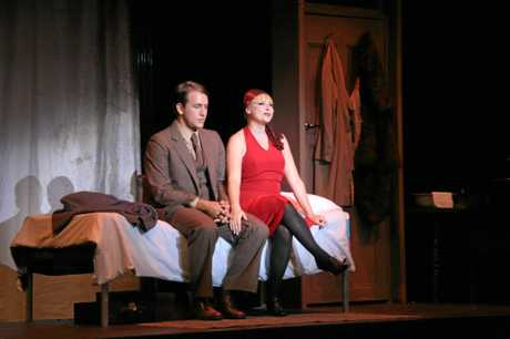 Travis Hock as Clifford Bradshaw and Amanda Hock as Sally Bowles in Rockhampton Regional Council's production of Cabaret (2009).