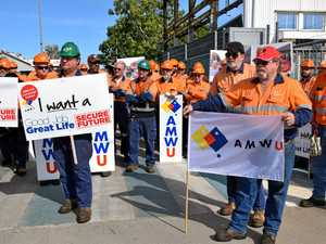 NOT GOOD ENOUGH: Aurizon workers protest the mass layoffs.