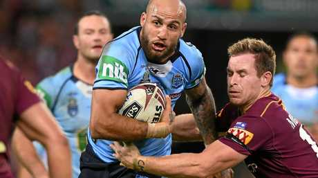 Blake Ferguson of the NSW Blues  during Game 1 of the State of Origin series at Suncorp Stadium in Brisbane, Wednesday,  May 31, 2017. (AAP Image/Dave Hunt) NO ARCHIVING