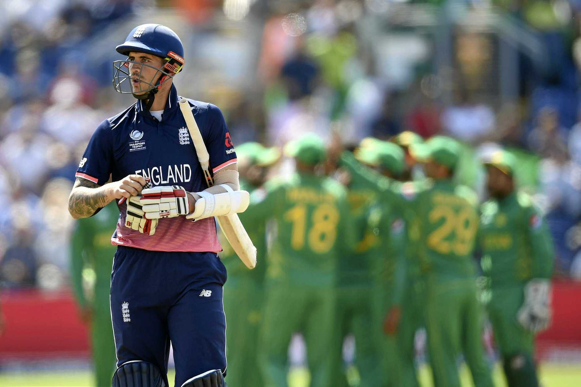 England's Alex Hales leaves the field after being caught out by Pakistan's Shadab Khan during the ICC Champions Trophy semi-final.
