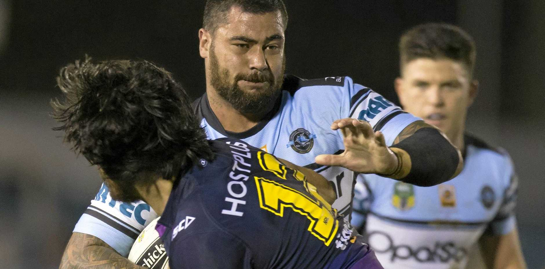 FORWARD: Andrew Fifita of the Sharks runs during the Round 14 NRL match between the Cronulla-Sutherland Sharks and the Melbourne Storm at Southern Cross Group Stadium.