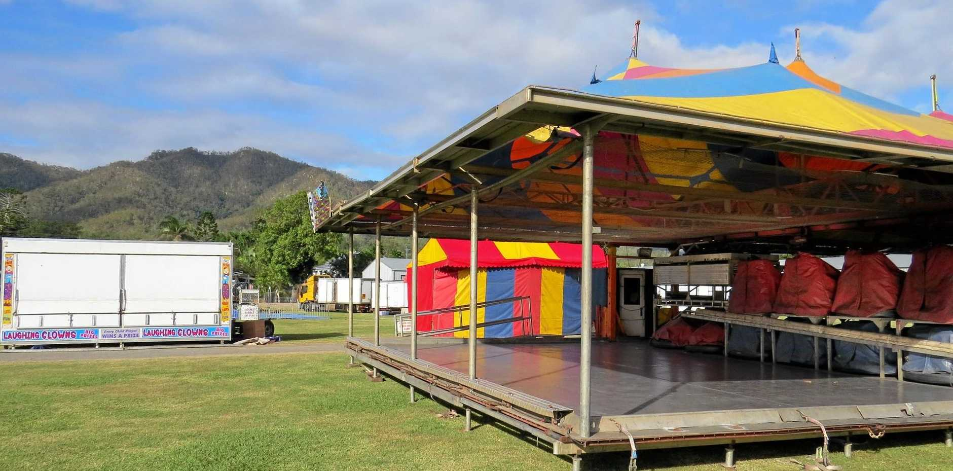 Sideshows have been set up at Finch Hatton ready for Sunday's show.