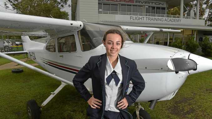 UP AND AWAY: Jamie Towner, 15, has been learning to fly with Airways Aviation in Caloundra.