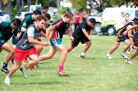 DEADLY CHOICES: U15 Bundaberg/Fraser Boomerangs' Dakota Broome and J'maine Hopgood does some training at Shalom College on 7 September, 2014. Photo: Max Fleet / NewsMail