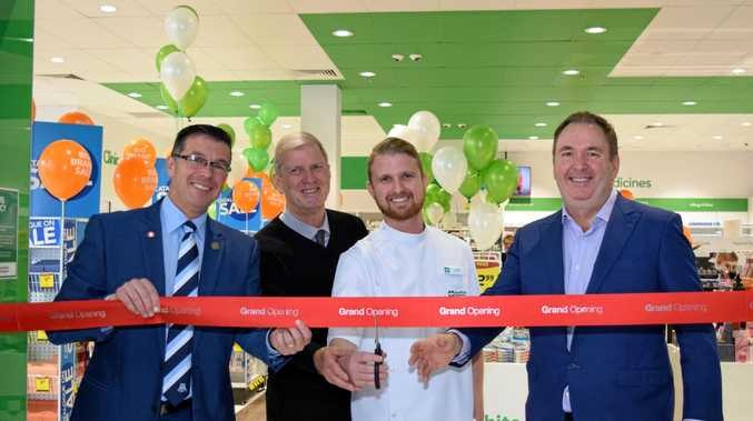 BIG MOMENT: Cr Andrew Antoniolli, Bob and Todd Slater, with Terry White CEO Anthony White at the opening of the new store in Ipswich Mall.
