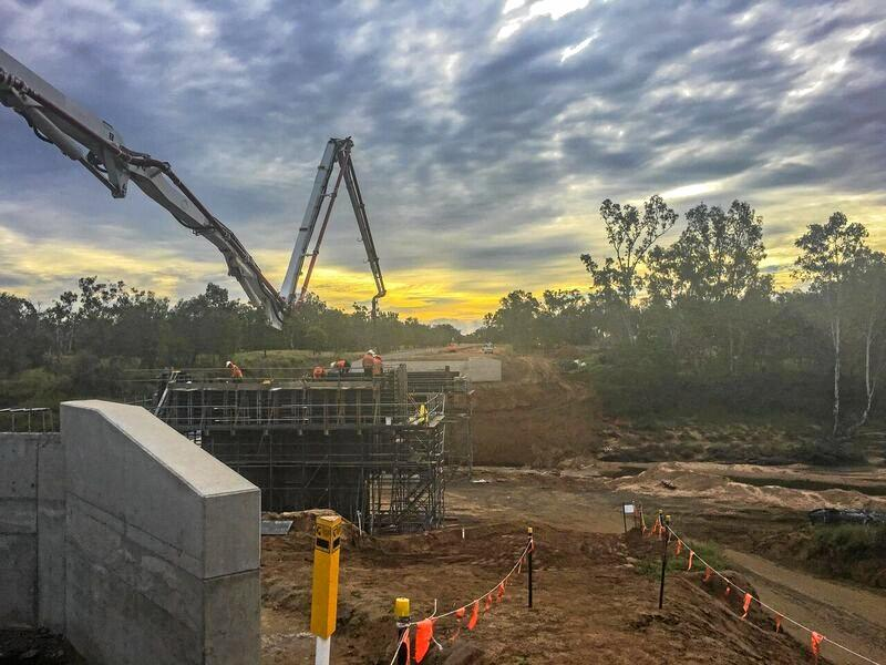 Work is powering ahead on the replacement of Cherwell Creek bridge after delays caused by Cyclone Debbie. and The project is on track for completion late in 2017.