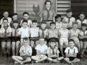 An early photo of Sarina Boy Scouts. A Scout den was built on Plane Creek Mill ground at the corner of Range Rd and Mill St.  It served the Scouting community for many years.