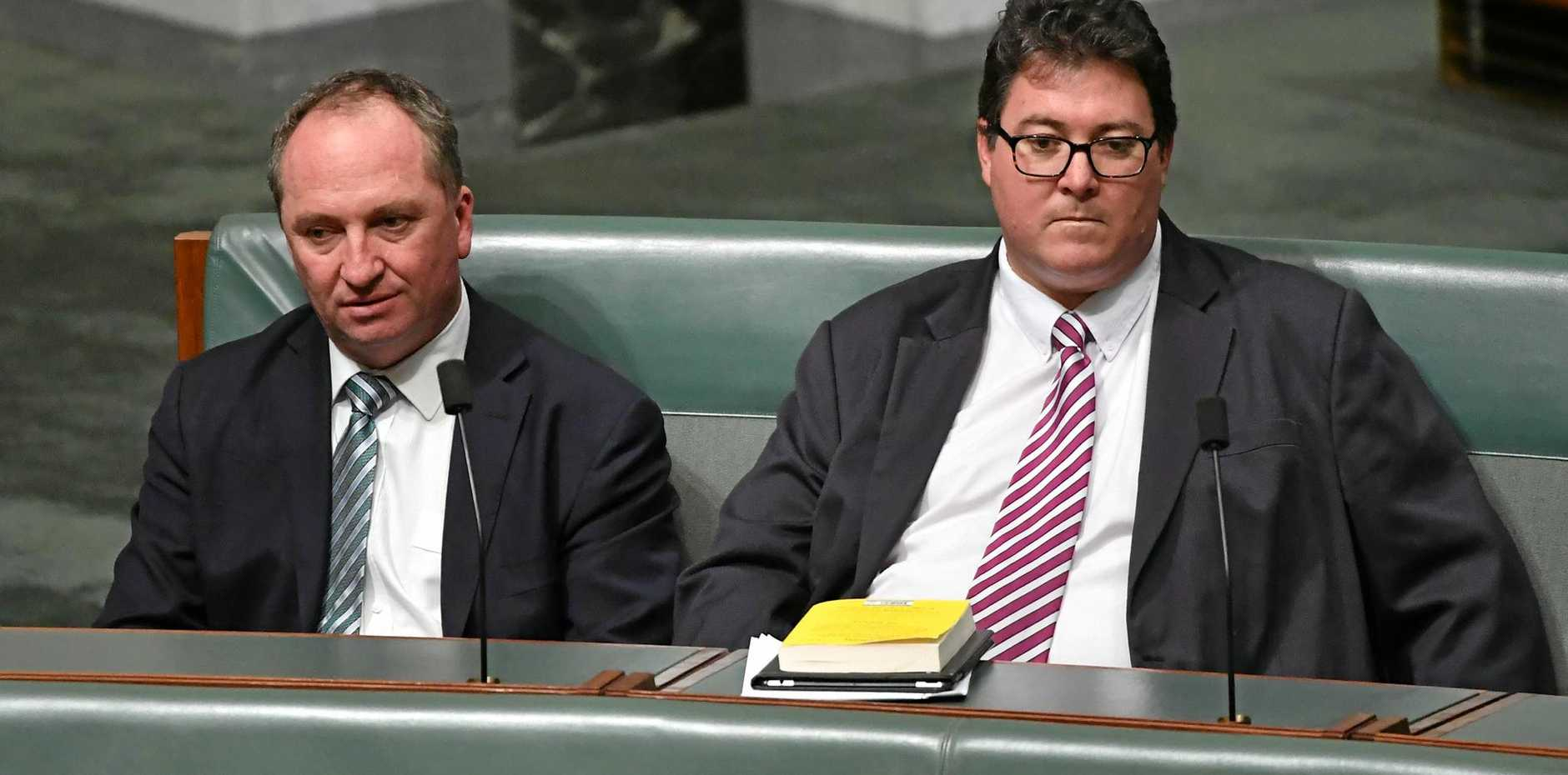 Deputy Prime Minister Barnaby Joyce and Nationals Member for Dawson George Christensen in the House of Representatives in Canberra on Thursday, June 15 at the banking commission inquiry debate.