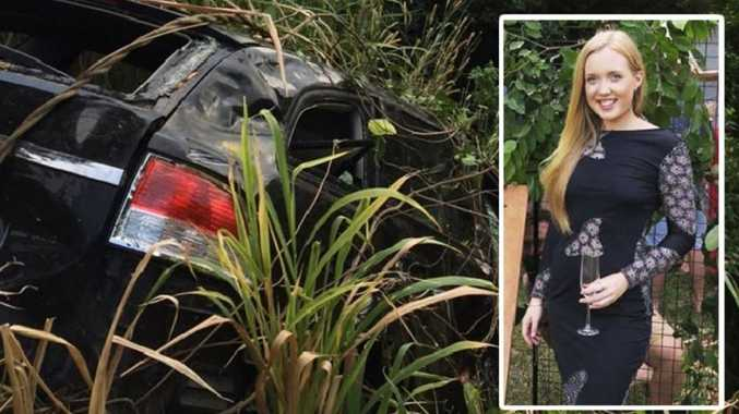 The black station wagon Jessica Hamill had allegedly been in when it crashed on the Kuranda Range last night.
