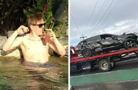Daniel Rooney has been charged with the attempted murder of Port Douglas woman Jessica Hamill. Right: The car Rooney was allegedly driving when he crashed off the Kuranda Range