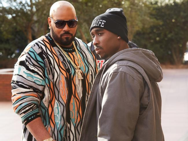Dominic L. Santana as Suge Knight (with Demetrius Shipp Jr as Tupac Shakur) is fat and frowny — and that's about it.