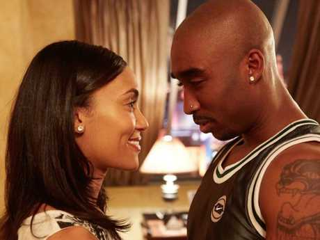 Demetrius Shipp Jr, pictured with Annie Ilonzeh as Kidada Jones, looks the part in All Eyez On Me, but doesn't capture the complexities of Tupac.
