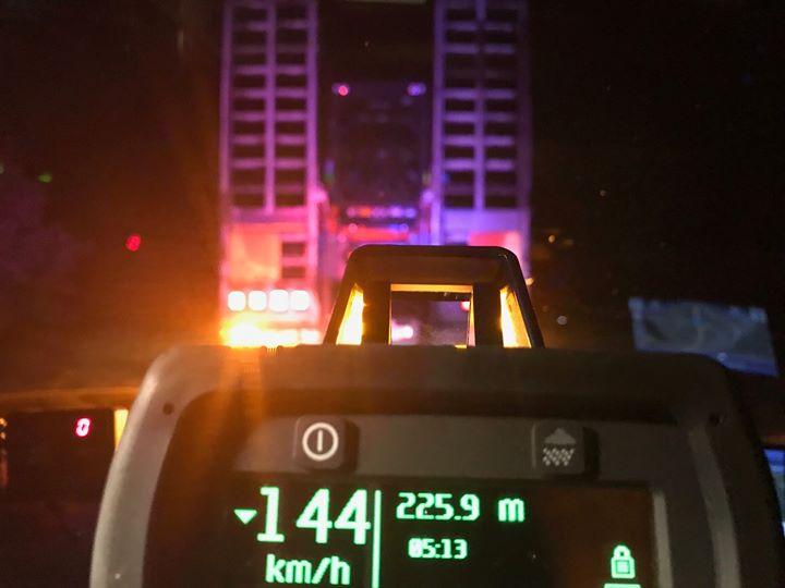 The Heavy vehicle was clocked at 144k/ph