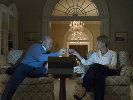 Kevin Spacey and Robin Wright in a scene from season five of House of Cards.