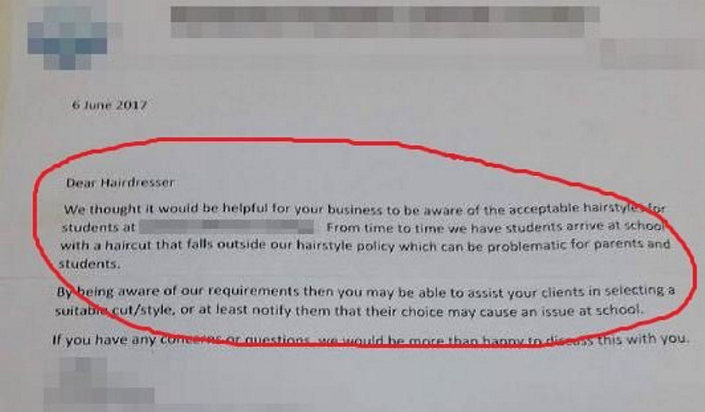 A Gympie hairdresser was shocked to receive this letter from a local school.