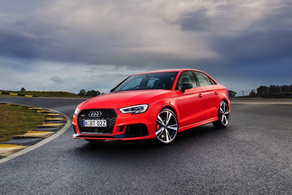 TRACK BRED: With 294kW on offer from a race car-sounding turbo five-cylinder engine, the new Audi RS 3 Sedan hits 100kmh in a phenomenal 4.1-seconds. Priced from $84,900 before on-roads it is expensive for a little A3, but a true performance bargain.