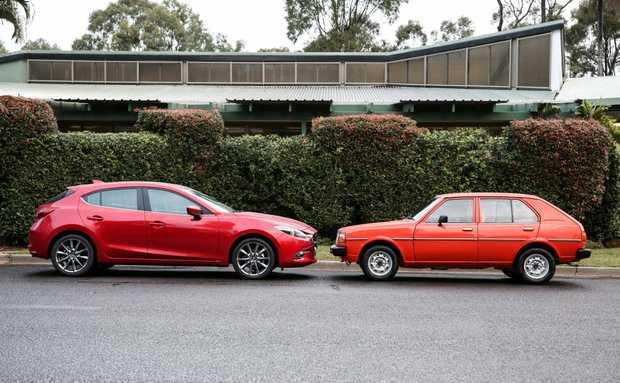 2017 Mazda3 with the 1980 Mazda 323