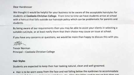 A letter sent to local hairdressing salons by Cooloola Christian College.