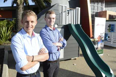 McNab Construction cadets Riley Mellor and Terry Heslin designed the cubby house that won a design contest between Hutchinson Builders and FKG Group, which will be auctioned off in August for charity.