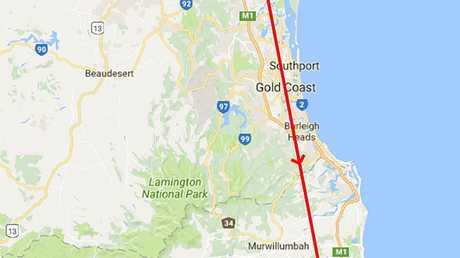 The intended flight path of the plane that crashed at Brooklet.