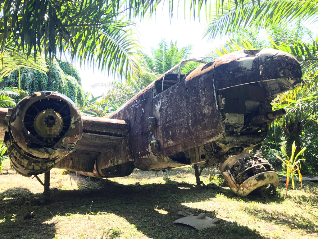 A B-25H Mitchell plane abandoned by American pilots during battle in the Second World War at Talasea in New Britain, Papua New Guinea.