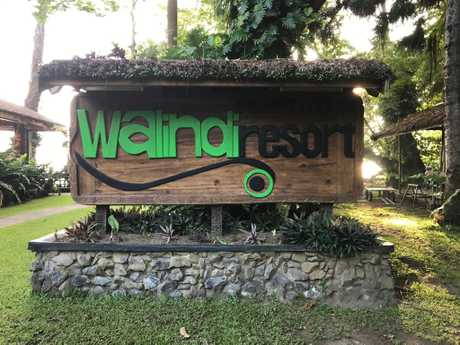 The welcome sign at Walindi Plantation Resort in New Britain, PNG.