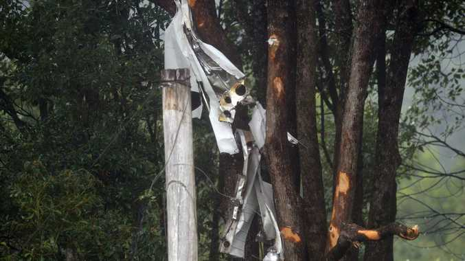 The wreckage of a Cessna 172 Skyhawk scattered through trees in Brooklet, after it crashed killing the pilot.