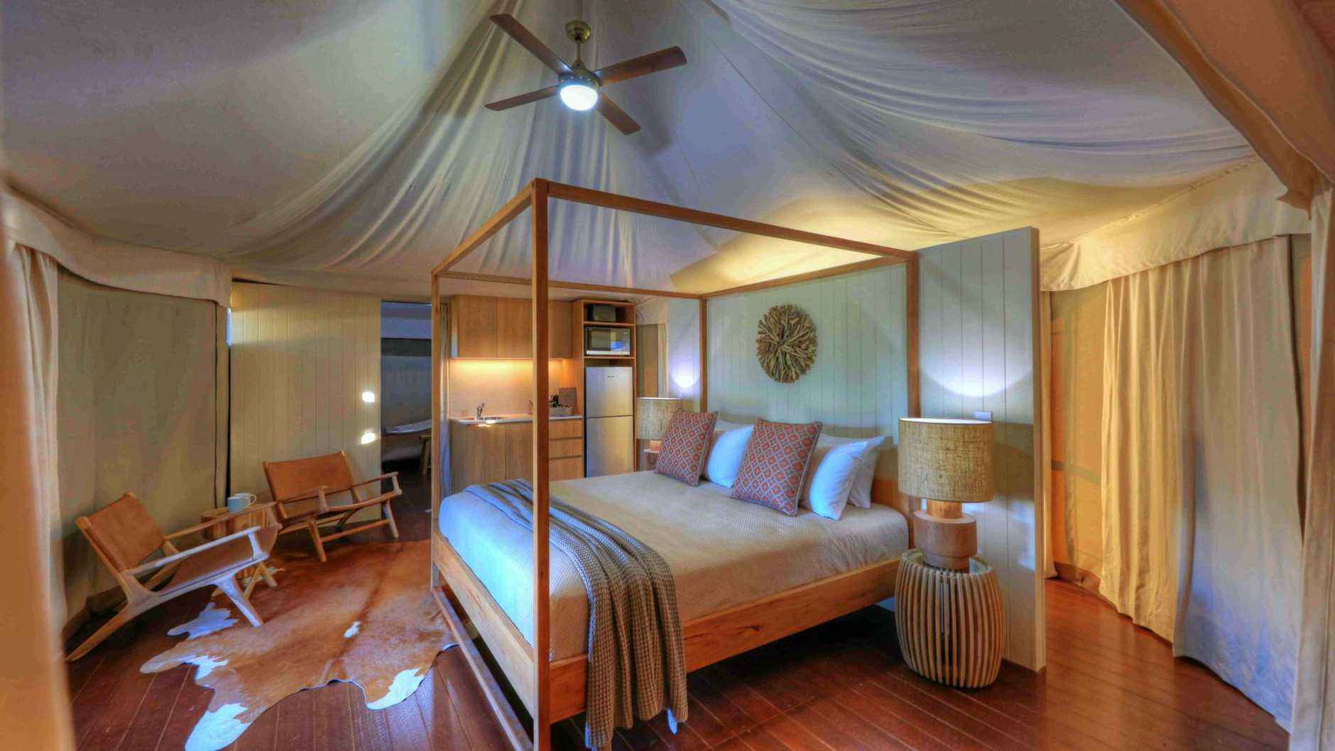 Inside one of the beautiful safari tents.