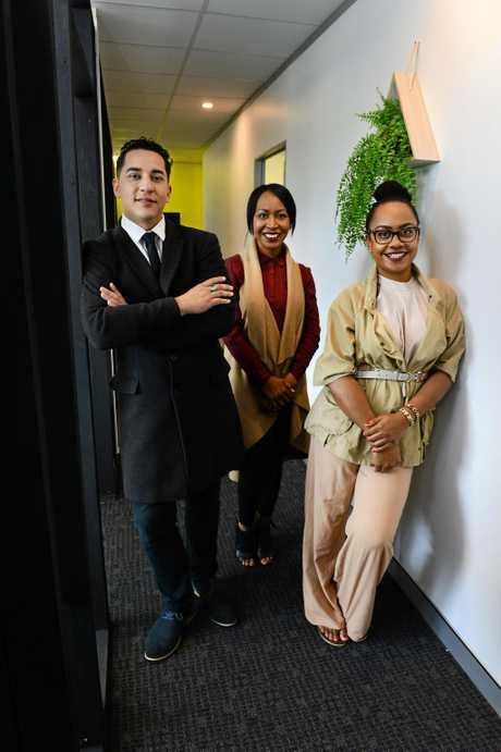 Levi-Joel Tamou, Makita Krueger and Emele Tuinona of the Social Impact Academy in Springfield Central.