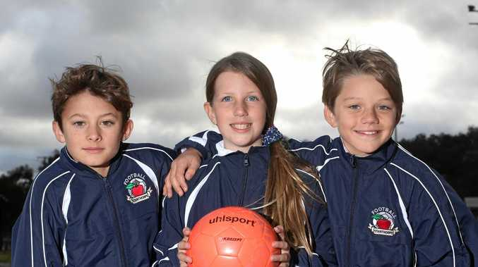 RARING TO GO: Tom Reimers, Brylie Gow and Liam Telfer are looking forward to this weekend's football carnival.