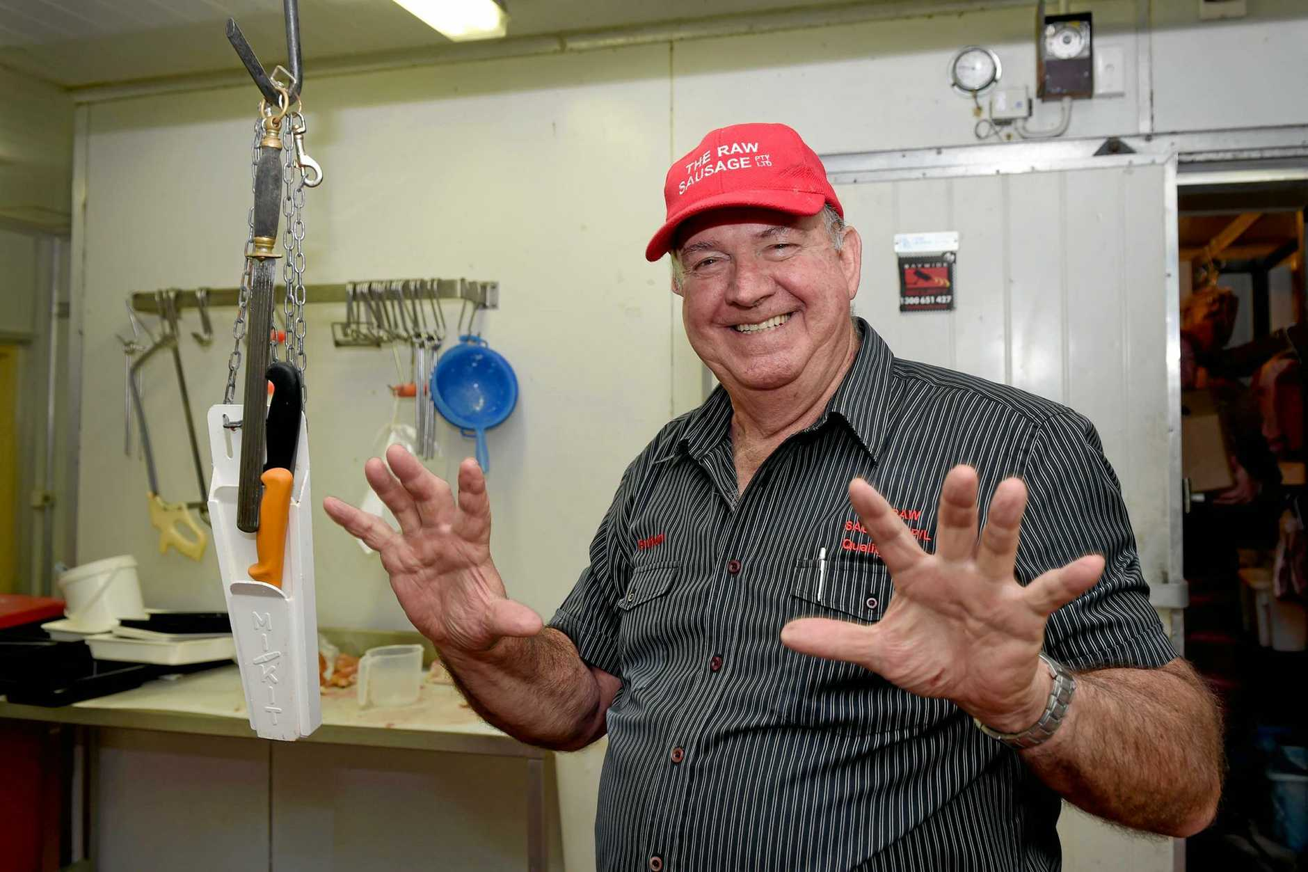 The Raw Sausage Butchery - Graham Zahl has had over 50 years ecperience ad a butcher and demonstrates that he still has all ten fingers.