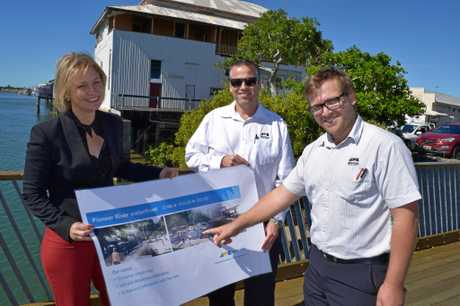 Councillor Amanda Camm, Mackay Regional Council manager of strategic planning Jaco Ackerman and strategic planner Andrew Schembri with their detailed plans.